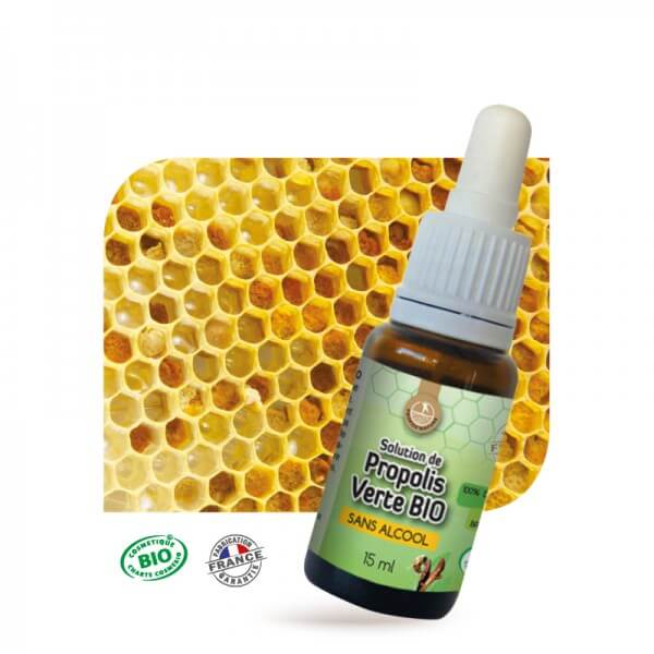 Solution Propolis verte Bio - Sans Alcool - 15 ml