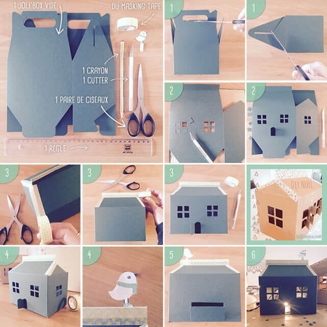 tutoriel maison de noel en carton