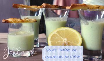 recette de soupe de concombre à l'huile essentielle de citron